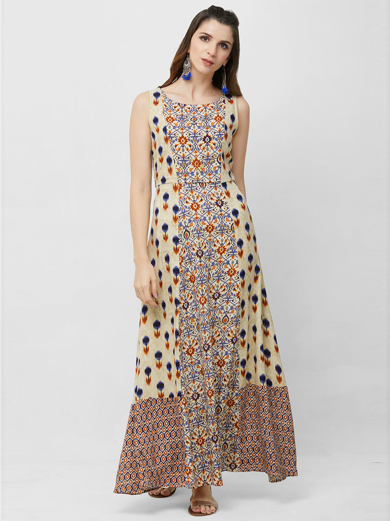 Blue Printed Maxi Gown