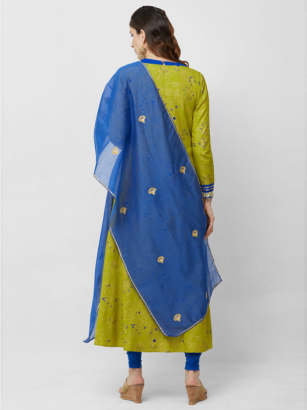 Blue Chanderi Gota Embroideried Dupatta