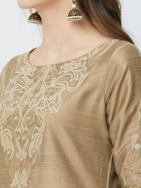 Beige Mirror Embroidered Kurta
