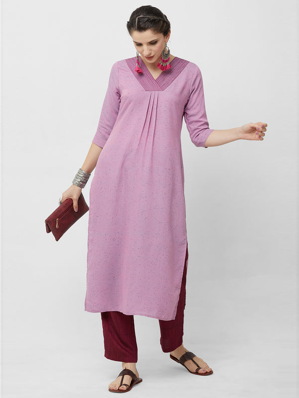 Lavender Pleated Kurta