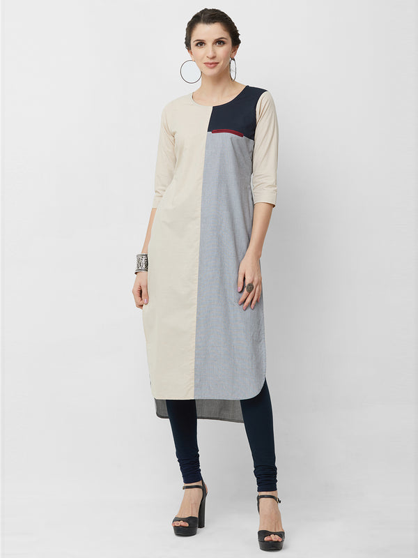 Panelled Light Beige Kurta