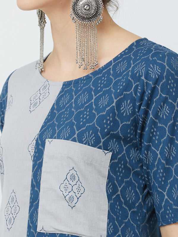 Blue Panel Printed Kurta