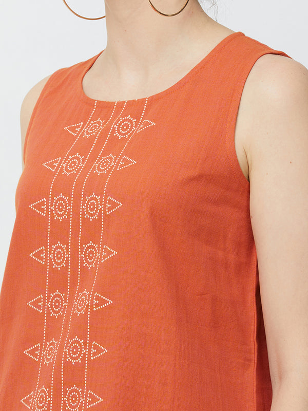 Orange Printed Dress