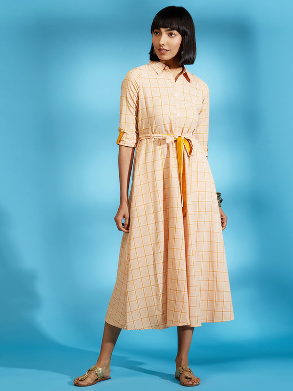 Mustard Checkered Long Dress