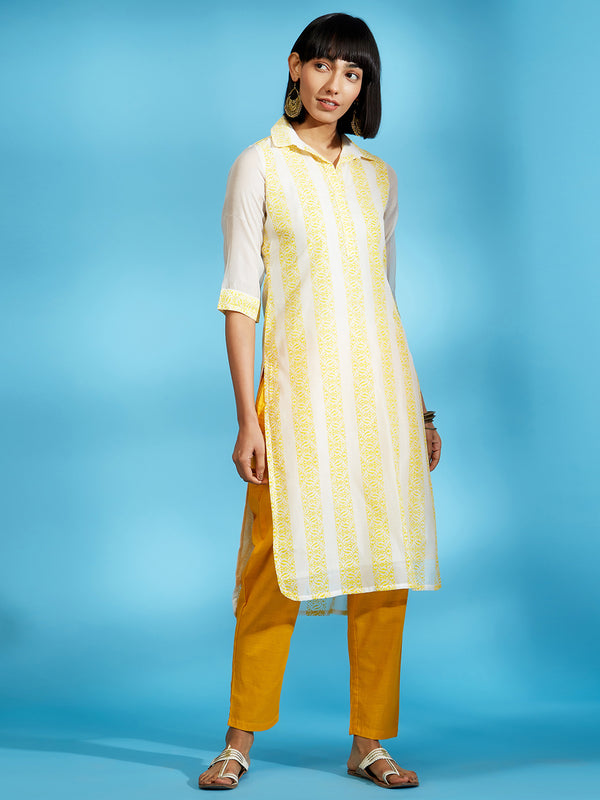 Off-White Printed Shirt Collar Kurta