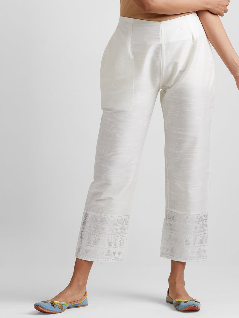 Off-White Narrow Pants with Statement Hem