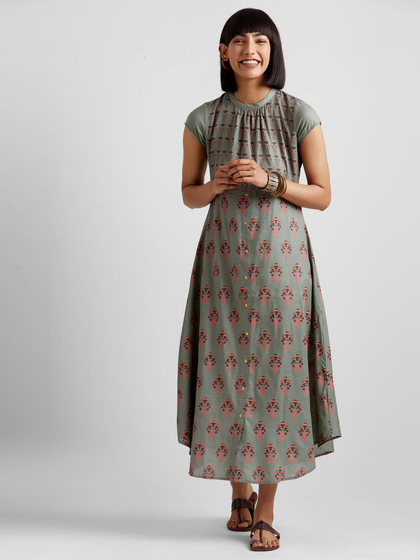 Sage Green Printed Dress