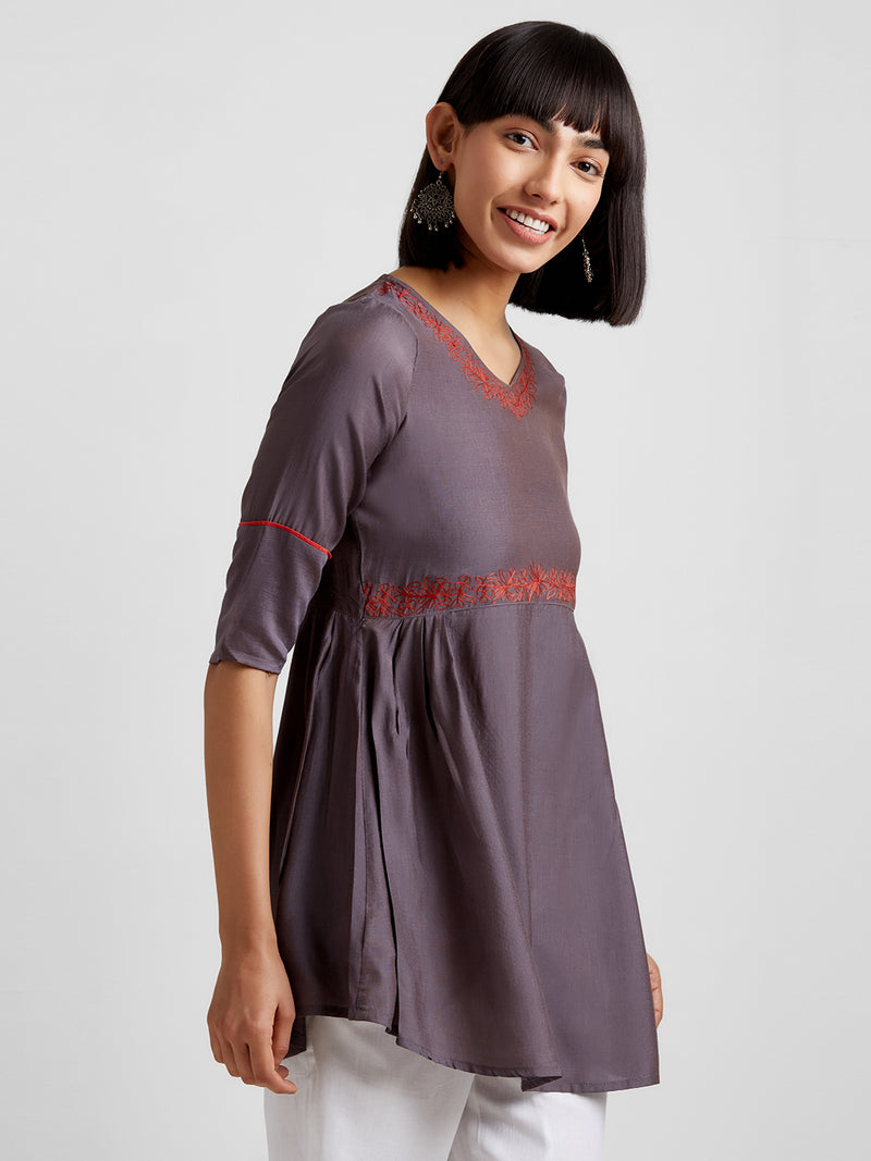 Grey Embroidered Short Kurti