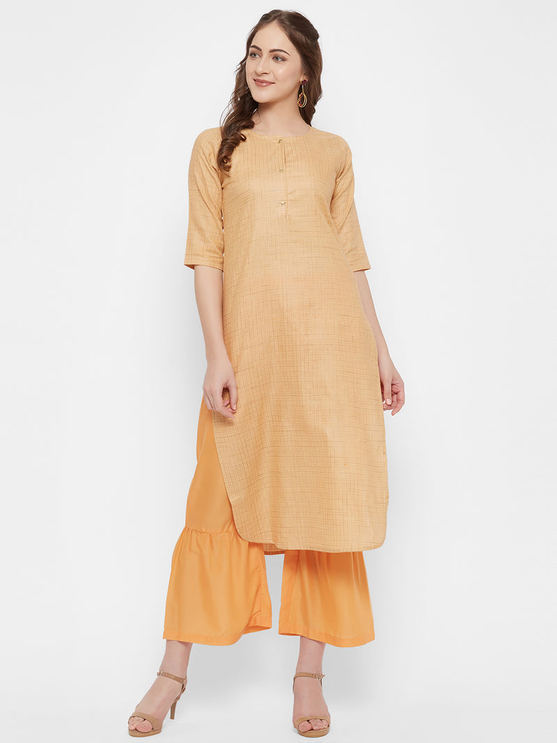 Pastel Orange Kurta Set