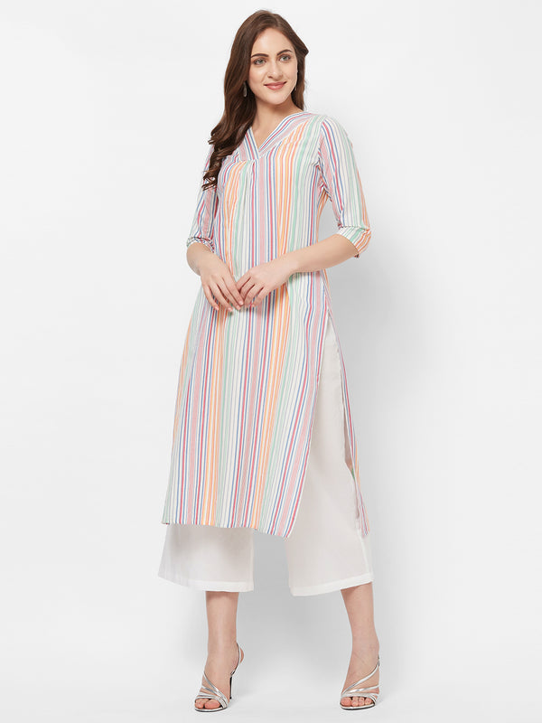 Multicolour Striped Kurta