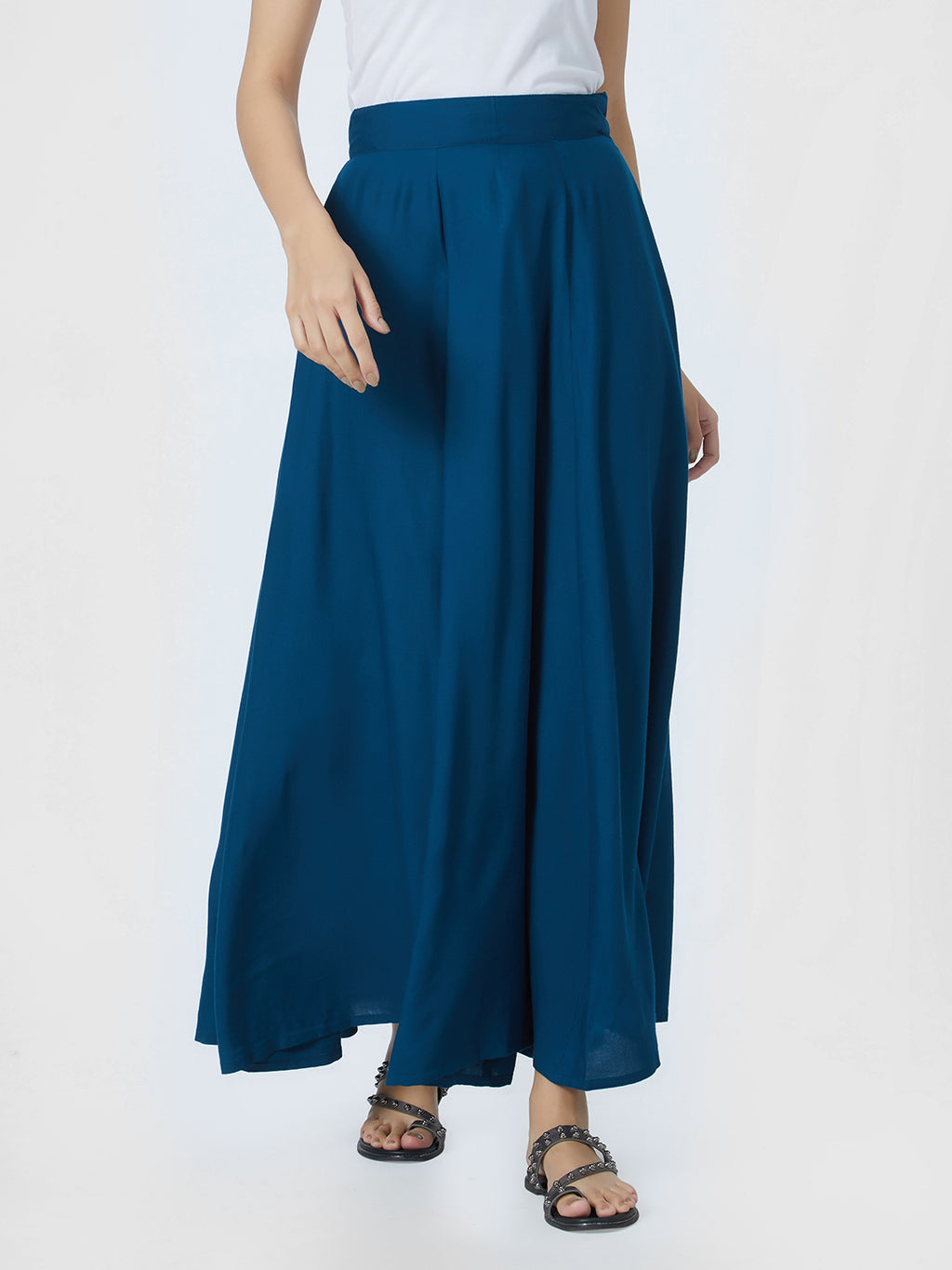 Breya Plain Blue Long Skirt