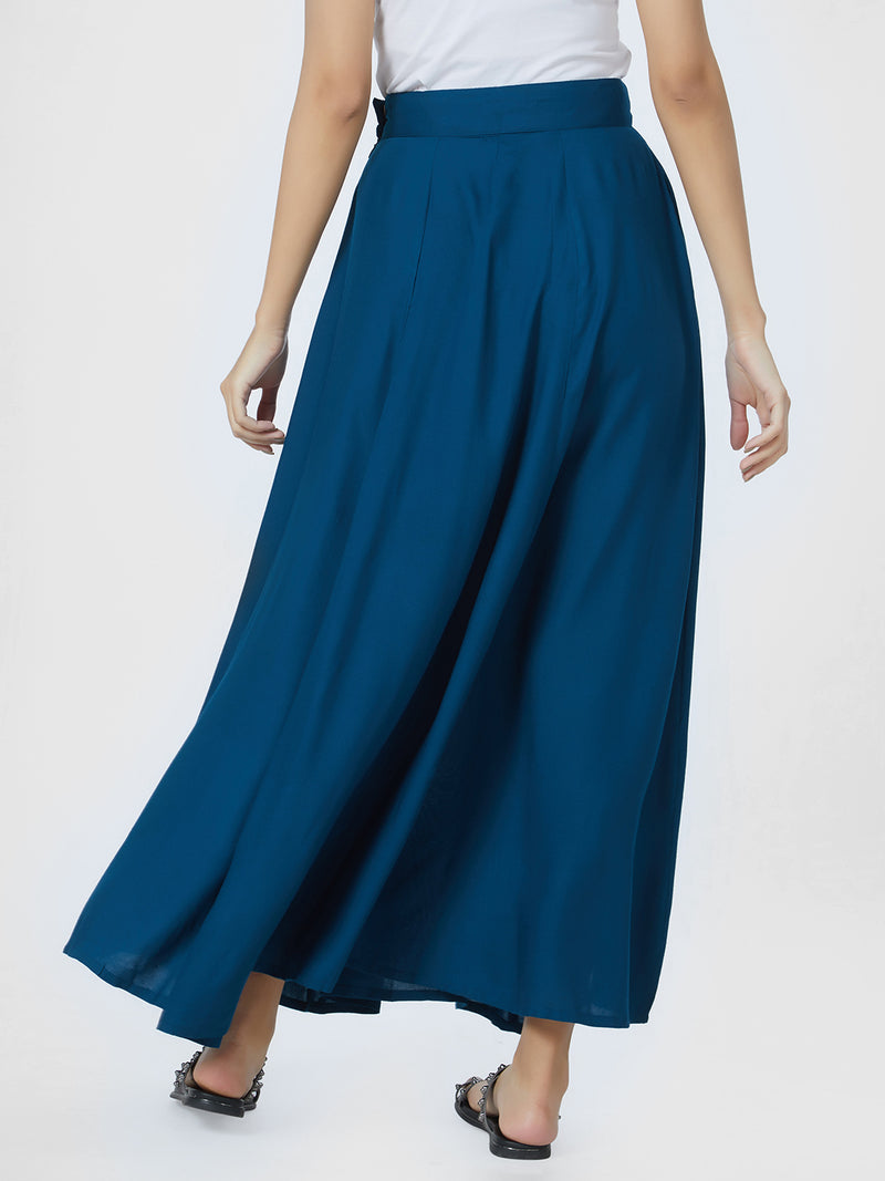 Long Plain Blue Skirt