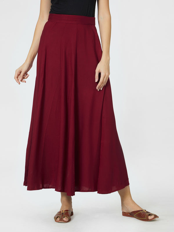 Long Plain Maroon Skirt