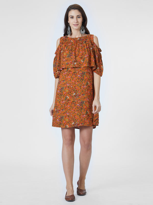 Orange Floral Printed Ruffled Dress