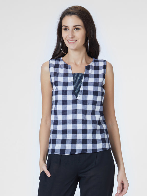 Navy Blue Checked Top