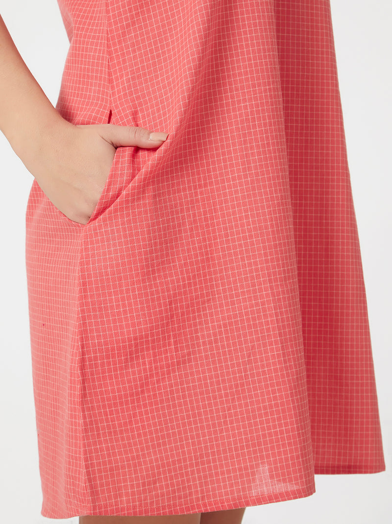 Checked Peach Dress