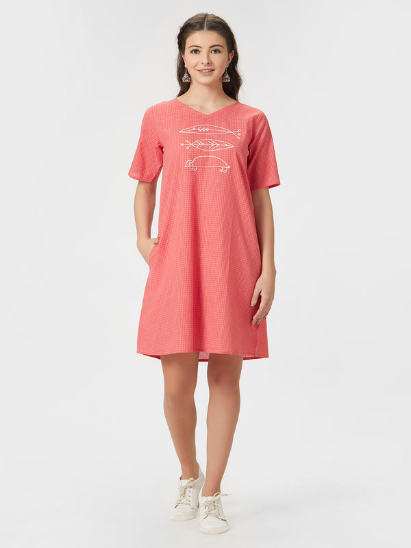 Checked Peach Tunic Dress