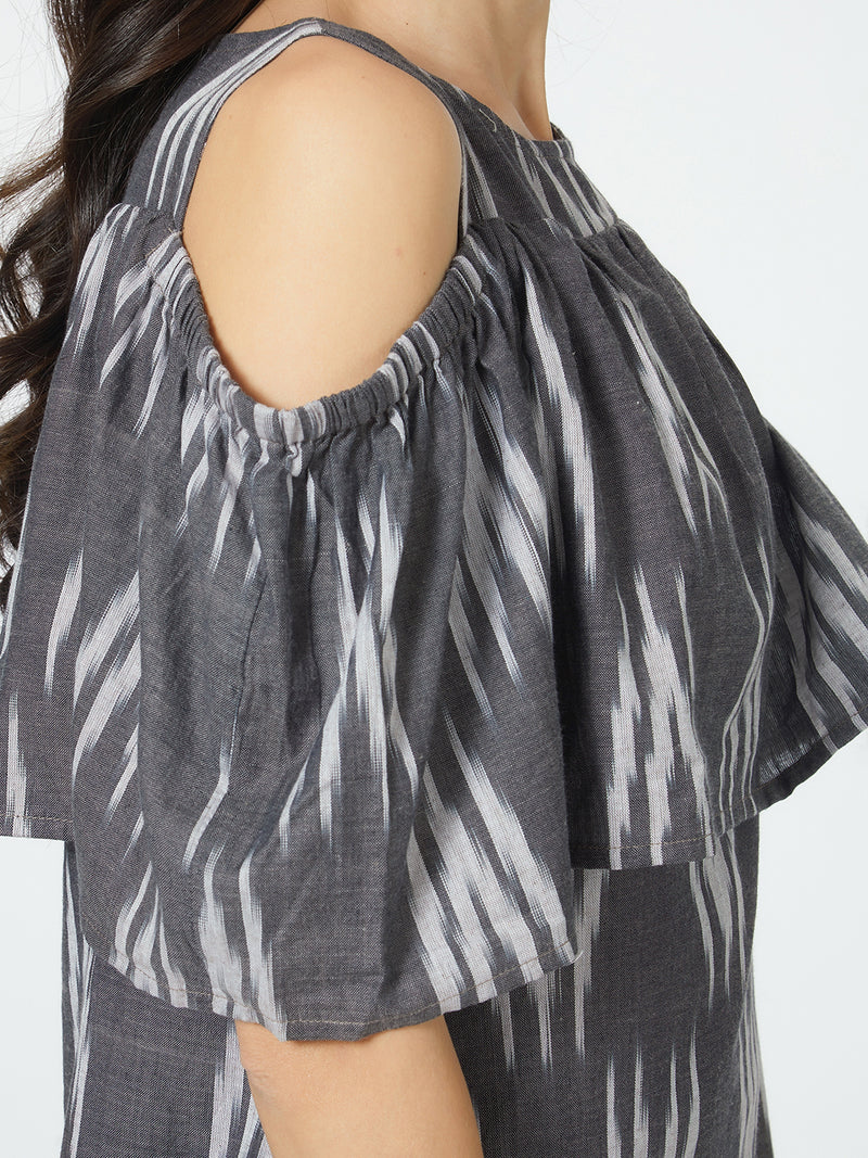Black And White Cotton Ikkat Cold Shoulder A-Line Ruffled Dress
