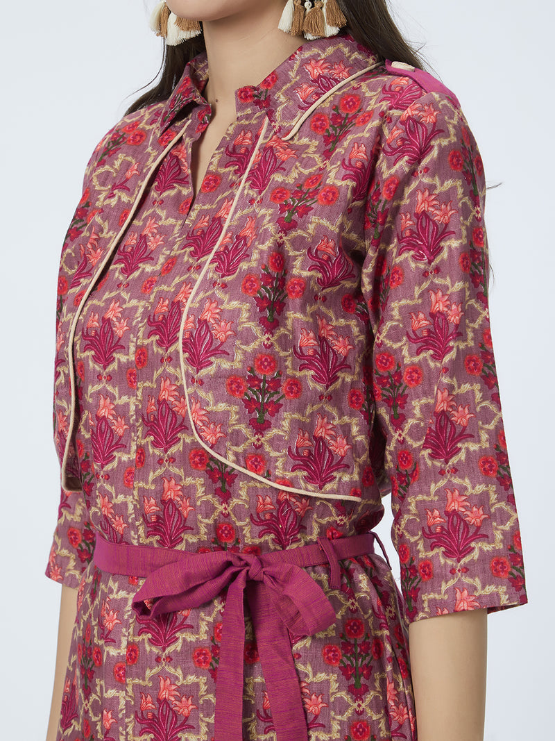 Floral Printed Shirt Dress With Waist Tie Up Details
