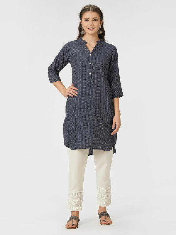 Embroidered Navy Blue Tunic