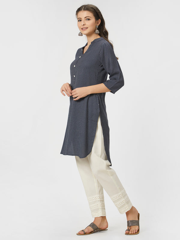 Embroidered Navy Tunic