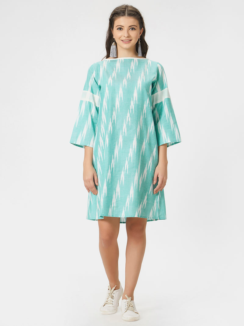 Green & White Ikkat A-Line Dress