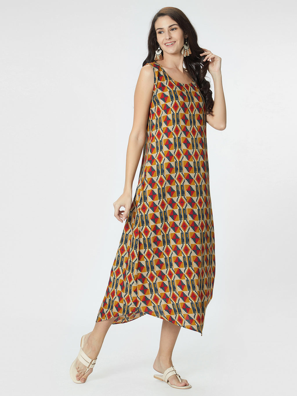 Multicoloured Printed A-Line Dress