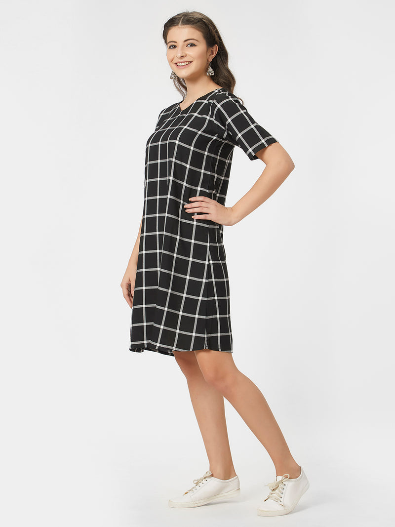 Black Checked A-Line Dress