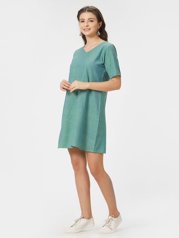 Solid Green Handloom Tunic Dress