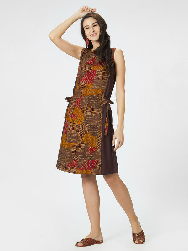 Brown Printed Dress With Waist Tie Up Details