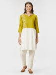 Embroidered Yoke Straight Green Tunic