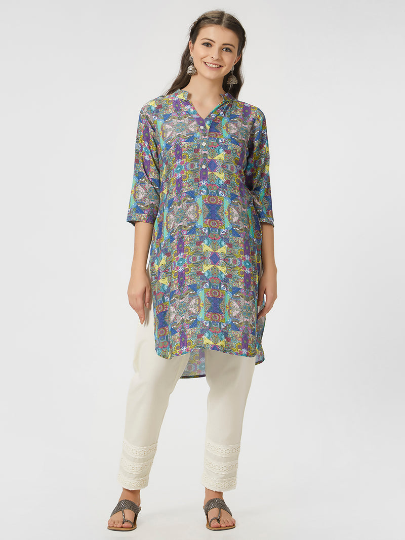 Multicoloured Printed Kurta