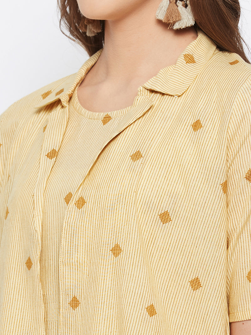 Mustard Checkered Dress Jacket Set