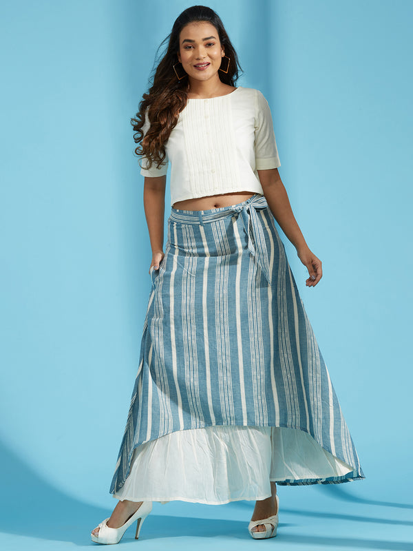 Cream Crop Top Skirt Set