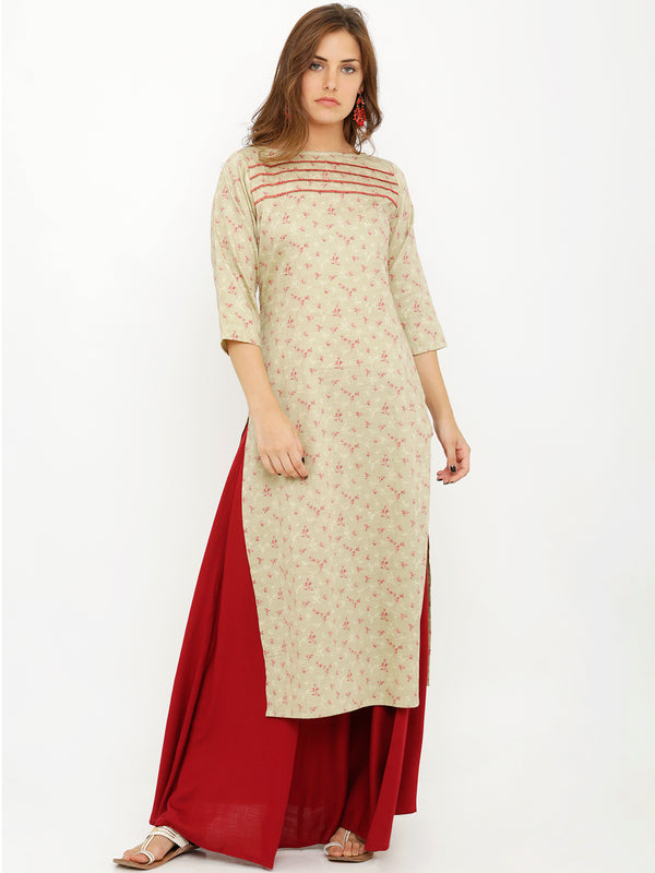 Foliage Printed Lemon Yellow Kurta