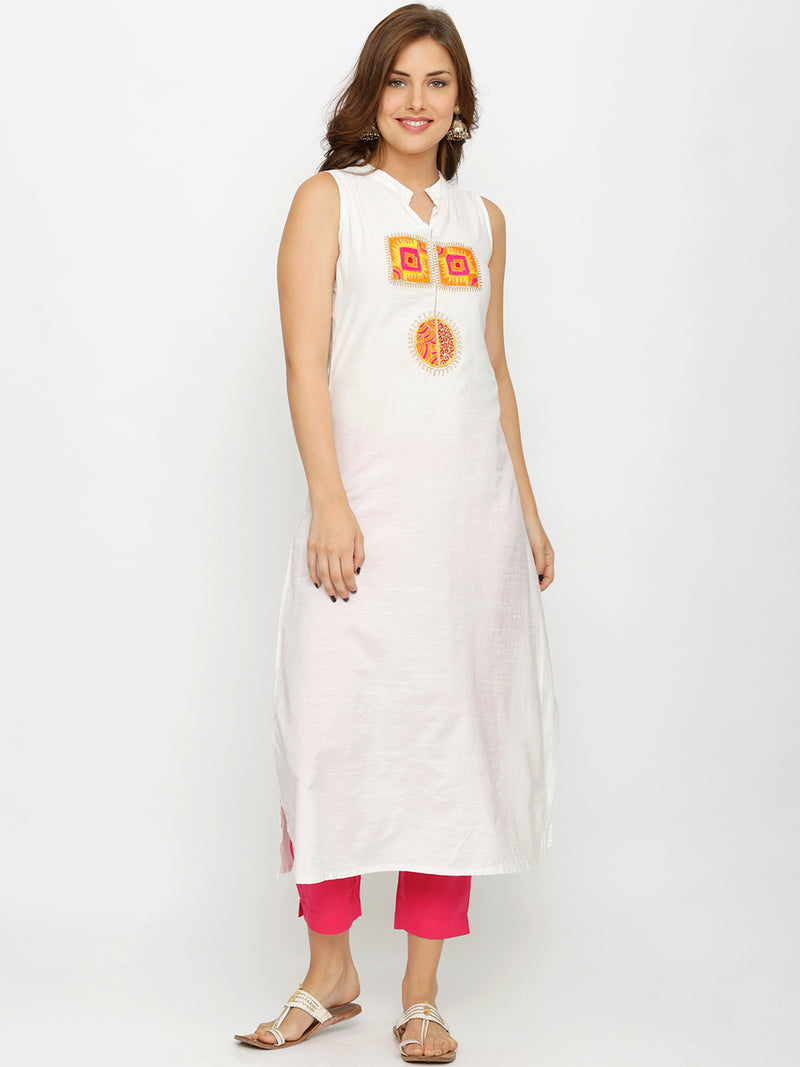 White Mandarin Collar Neck Embroidered Sleeveless Kurta
