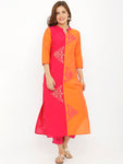 Breya Half Half Orange And Magenta Silk Embroidered  Kurta