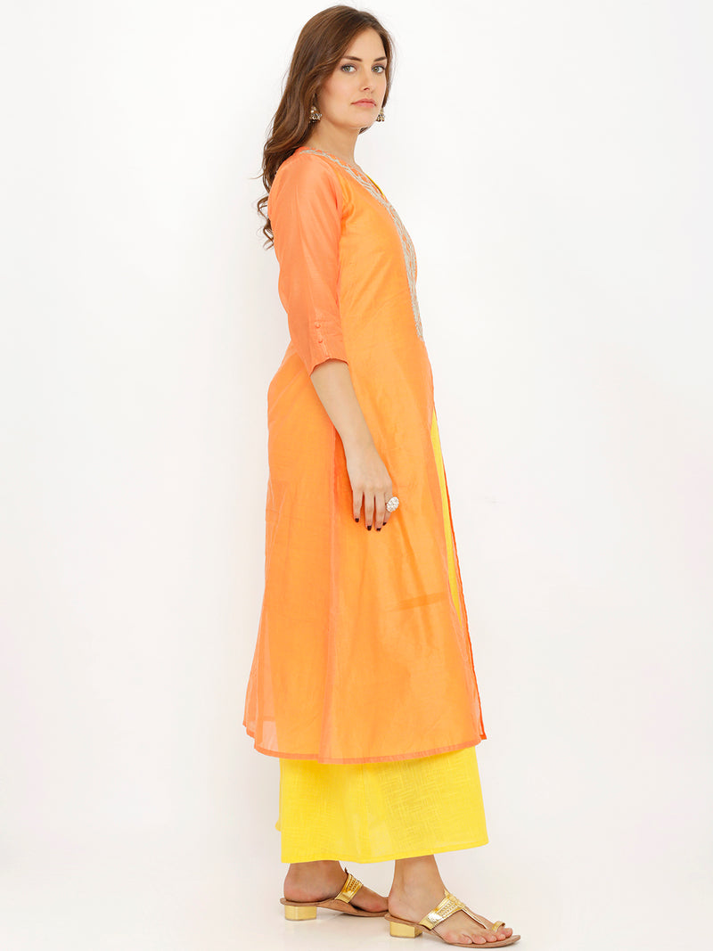 A-Line Two Layered Neck Embroidered Kurta
