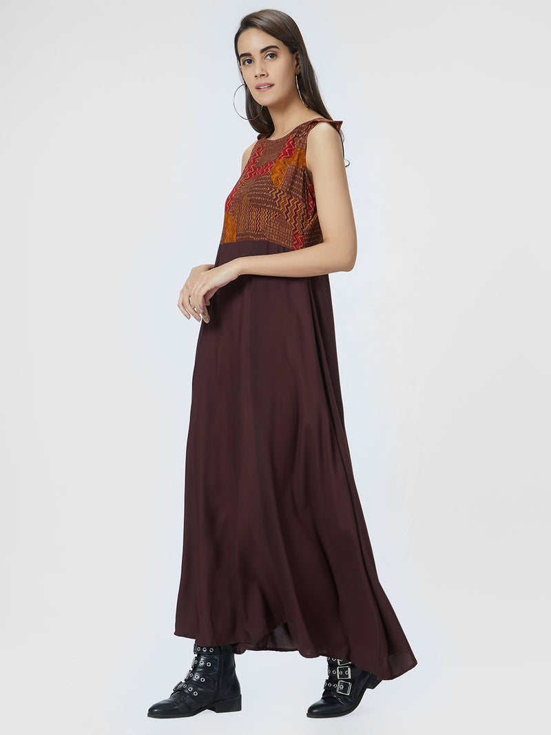 Brown Printed Maxi Gown