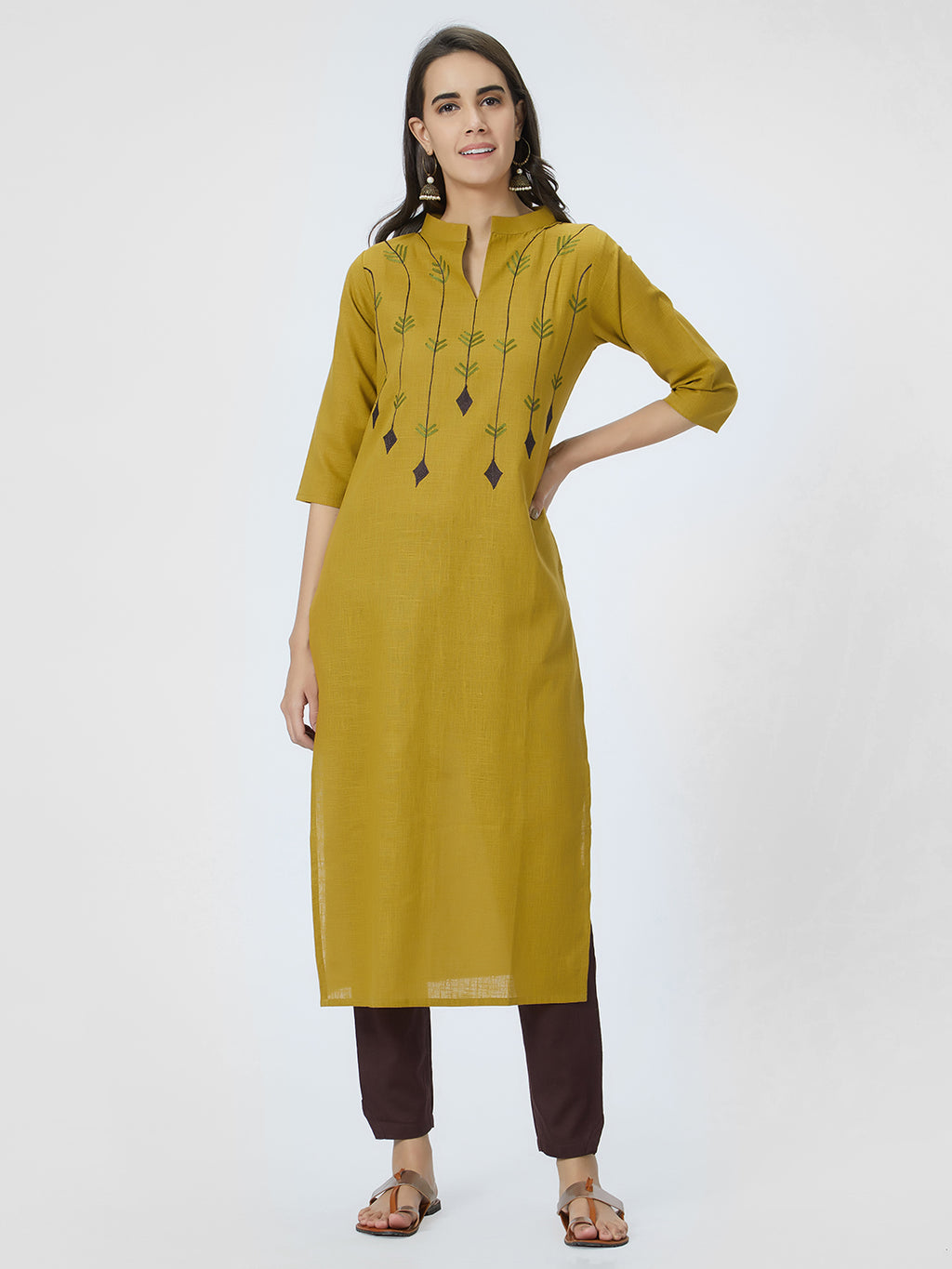 Mustard Embroidered Straight Kurta