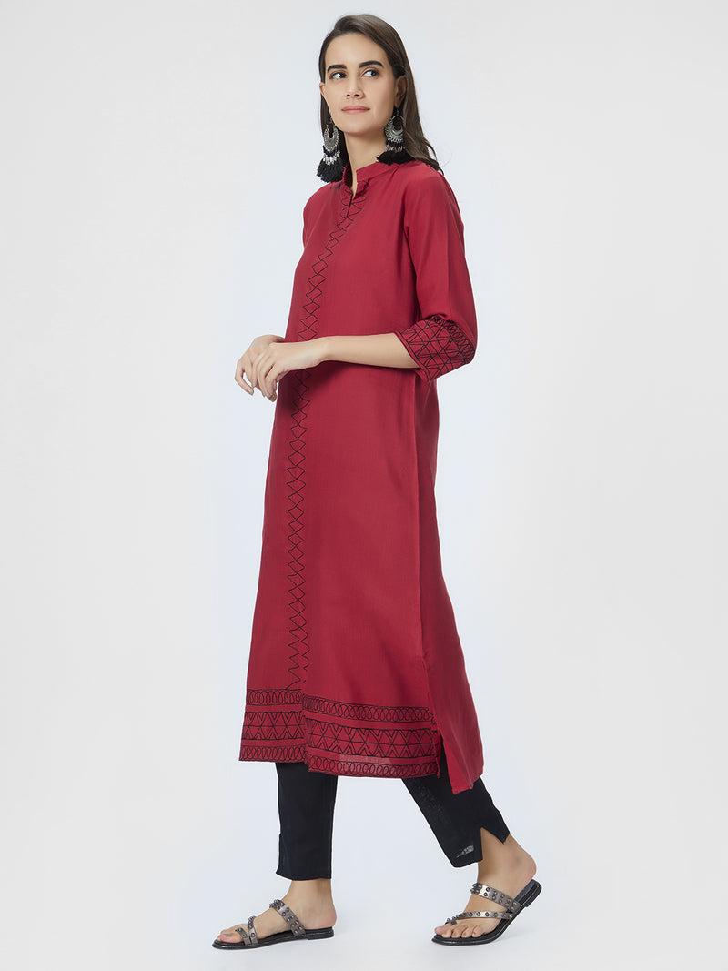 Maroon Embroidered Kurta