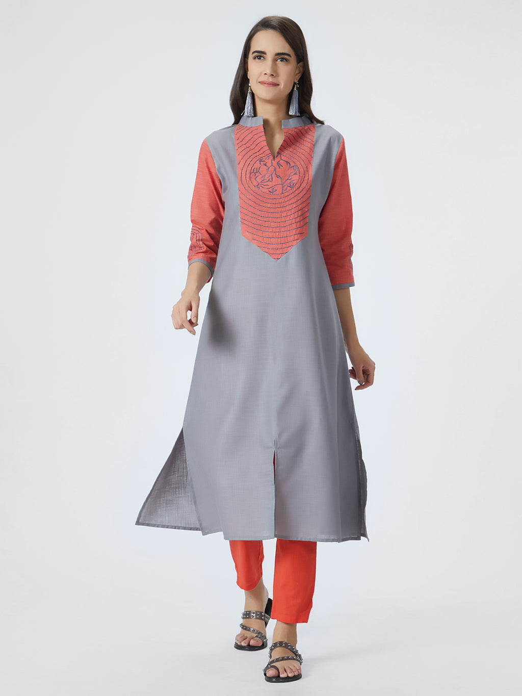 Red & Grey Embroidered Silk Kurta