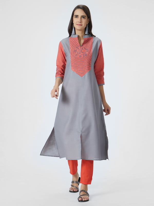 Grey Silk Kurta