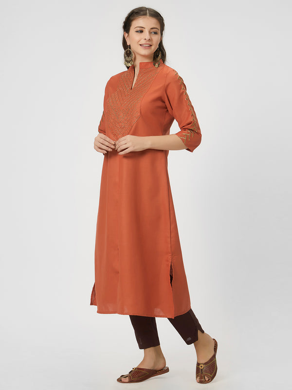Orange Zari Kurta