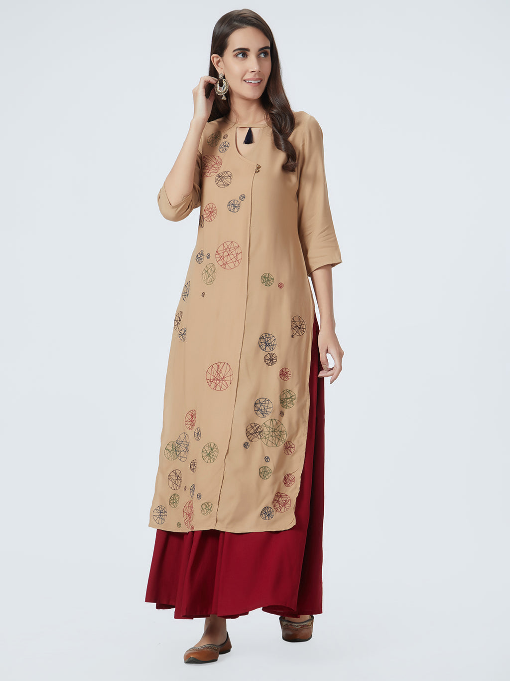 Beige Embroidered Straight Kurta