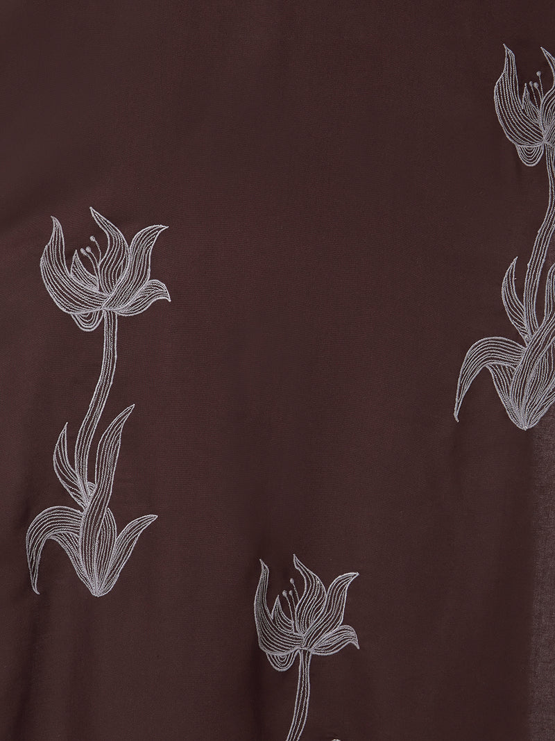 Brown Floral Printed & Embroidered Kurta
