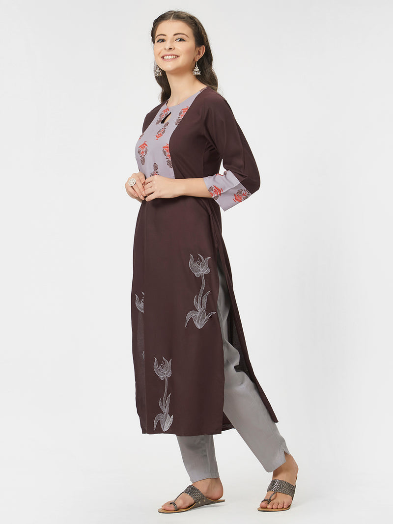 Brown Embroidered Kurta