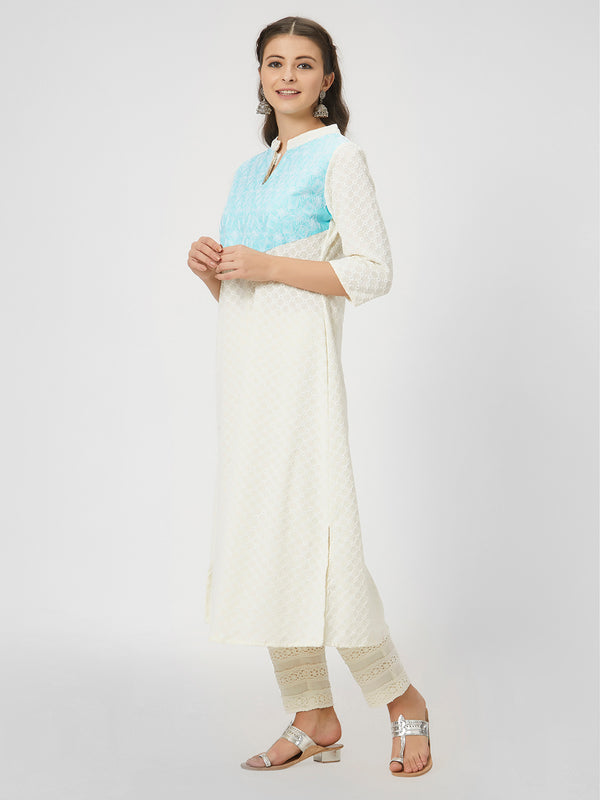 Sky Blue & White Embroidered Chikankari Kurta