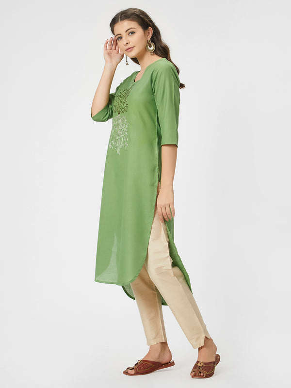 Green Silk Kurta