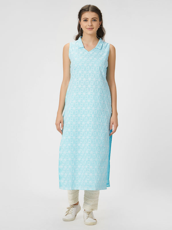 Light Blue Chikankari Kurta